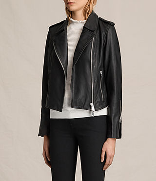 Womens Coniston Leather Biker Jacket (Black) - product_image_alt_text_4