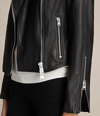 Womens Coniston Leather Biker Jacket (Black) - product_image_alt_text_6