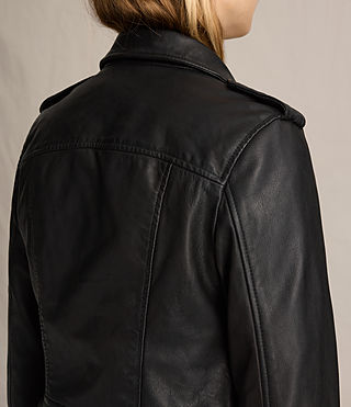 Womens Coniston Leather Biker Jacket (Black) - product_image_alt_text_7