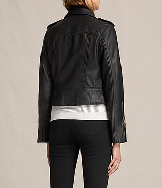 Womens Coniston Leather Biker Jacket (Black) - product_image_alt_text_8