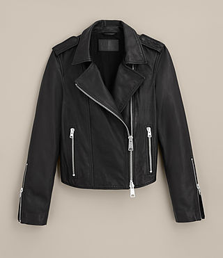 Womens Coniston Leather Biker Jacket (Black) - product_image_alt_text_9
