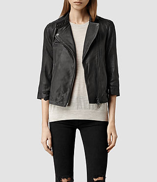 Womens Turne Leather Biker Jacket (Anthracite)