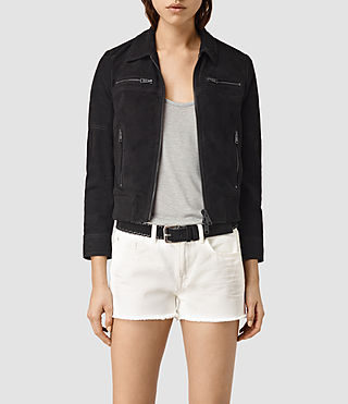 Damen Hopkins Leather Bomber Jacket (Black)