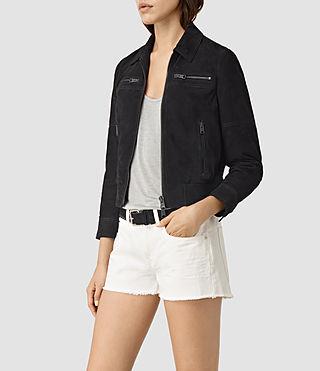 Mujer Hopkins Leather Bomber Jacket (Black) - product_image_alt_text_3