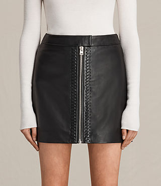 Mujer Willow Leather Skirt (Black)