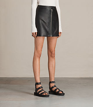 Womens Willow Leather Skirt (Black) - product_image_alt_text_2
