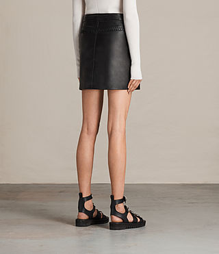 Womens Willow Leather Skirt (Black) - product_image_alt_text_3