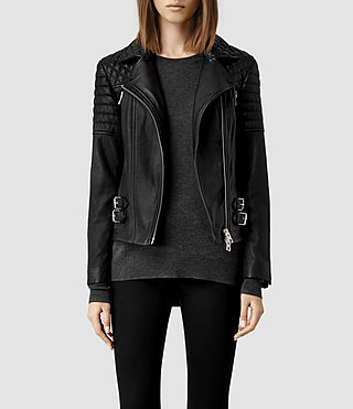 Womens Hemming Leather Biker Jacket (Black)