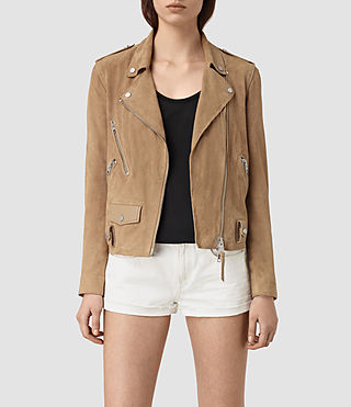 Mujer Richardson Suede Biker Jacket (Sand) - product_image_alt_text_1