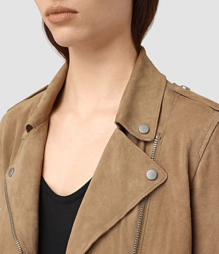 Mujer Richardson Suede Biker Jacket (Sand) - product_image_alt_text_2
