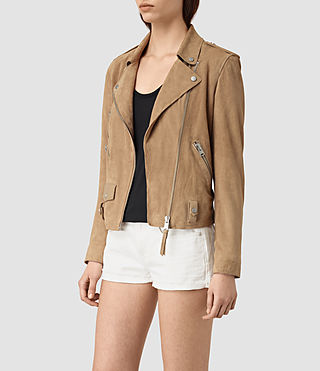Mujer Richardson Suede Biker Jacket (Sand) - product_image_alt_text_3