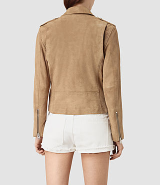 Mujer Richardson Suede Biker Jacket (Sand) - product_image_alt_text_4