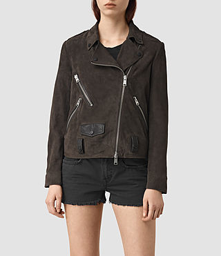 Womens Richardson Suede Biker Jacket (Graphite) - product_image_alt_text_1