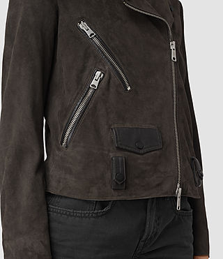 Womens Richardson Suede Biker Jacket (Graphite) - product_image_alt_text_2