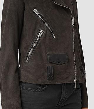 Women's Richardson Suede Biker Jacket (Graphite) - product_image_alt_text_2