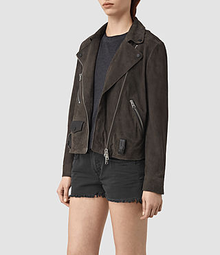 Womens Richardson Suede Biker Jacket (Graphite) - product_image_alt_text_3