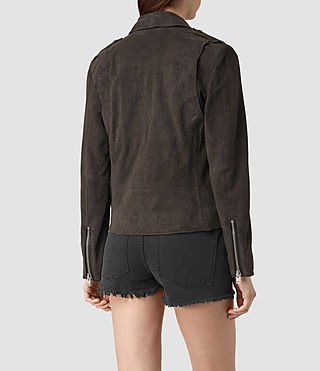 Womens Richardson Suede Biker Jacket (Graphite) - product_image_alt_text_4