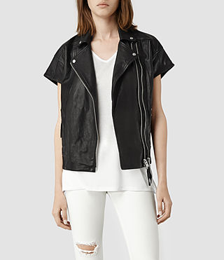 Womens Kinley Leather Biker Jacket (Black)