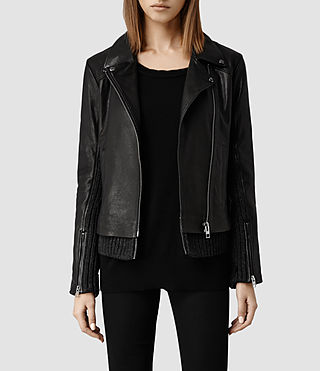 Womens Axel Leather Biker Jacket (Black)