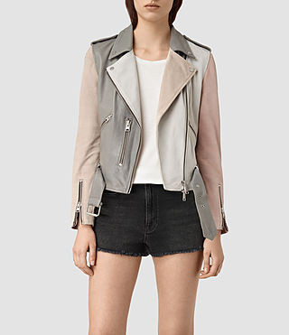 Damen Murray Leather Biker Jacket (GREY/PALE PINK/ICE)