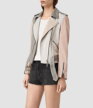 Womens Murray Leather Biker Jacket (GREY/PALE PINK/ICE) - product_image_alt_text_3