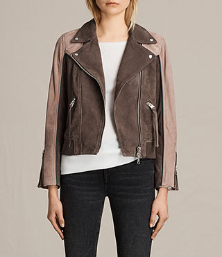Womens Gordale Suede Bomber Jacket (FIG PINK/DARK ARMY) - product_image_alt_text_1