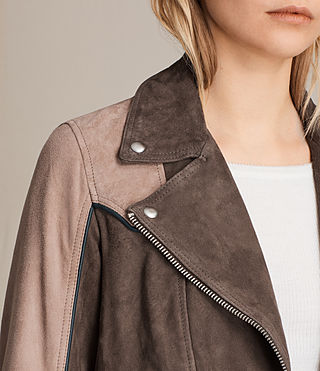 Womens Gordale Suede Bomber Jacket (FIG PINK/DARK ARMY) - product_image_alt_text_4