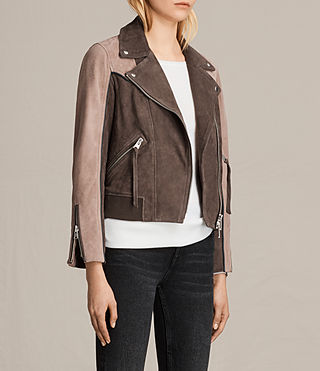 Womens Gordale Suede Bomber Jacket (FIG PINK/DARK ARMY) - product_image_alt_text_5
