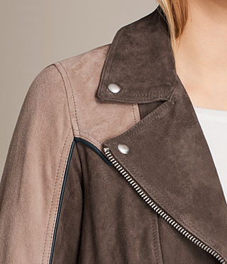 Womens Gordale Suede Bomber Jacket (FIG PINK/DARK ARMY) - product_image_alt_text_6