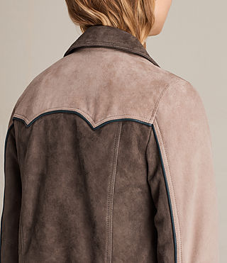 Womens Gordale Suede Bomber Jacket (FIG PINK/DARK ARMY) - product_image_alt_text_7