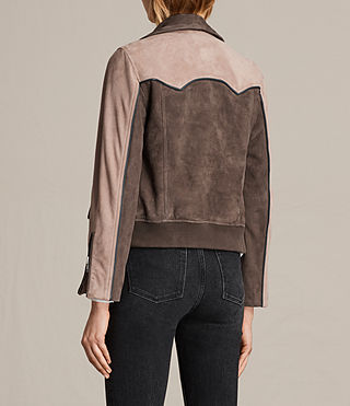 Womens Gordale Suede Bomber Jacket (FIG PINK/DARK ARMY) - product_image_alt_text_8