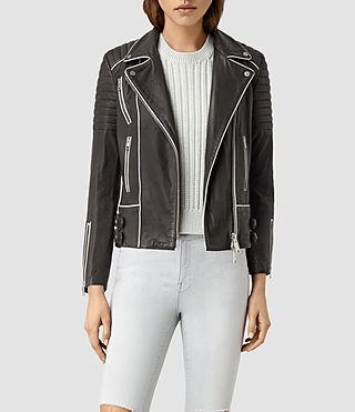 Women's Bixer Piped Leather Biker Jacket (DARK GREY/ICE)