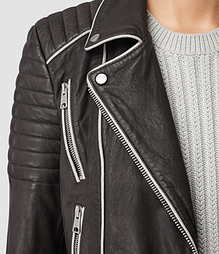 Mujer Bixer Piped Leather Biker Jacket (DARK GREY/ICE) - product_image_alt_text_2