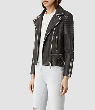 Mujer Bixer Piped Leather Biker Jacket (DARK GREY/ICE) - product_image_alt_text_3