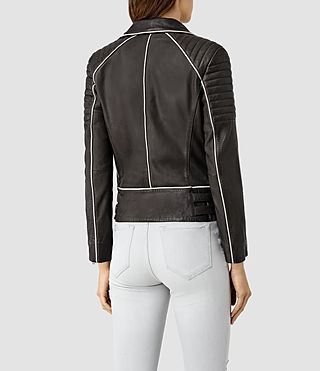 Mujer Bixer Piped Leather Biker Jacket (DARK GREY/ICE) - product_image_alt_text_4