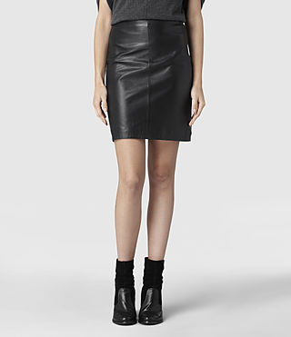 Womens Lucille Leather Skirt (Black) - product_image_alt_text_1