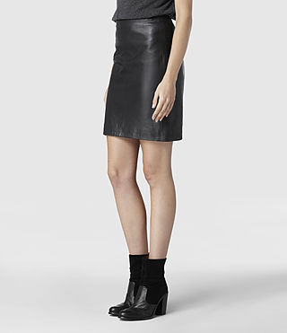Womens Lucille Leather Skirt (Black) - product_image_alt_text_2