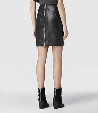 Womens Lucille Leather Skirt (Black) - product_image_alt_text_3