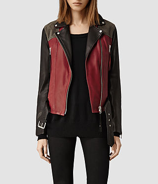 Womens Frith Leather Biker Jacket (Rust/Black/Anthrct)