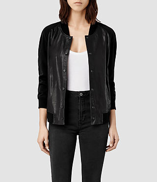 Womens Drey Leather Baseball Jacket (Black)