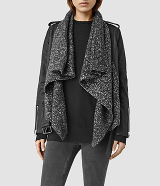 Womens Texture Wrap Leather Biker Jacket (Black/Grey Marl)