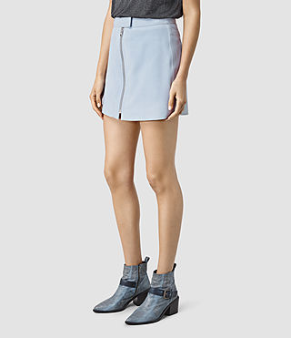 Womens Lancaster Leather Skirt (Sky Blue) - product_image_alt_text_3