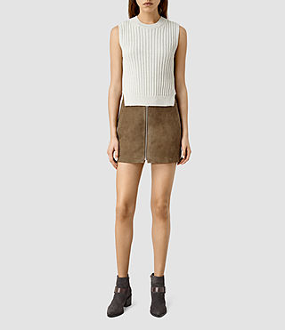 Donne Lancaster Leather Skirt (Dark Khaki)