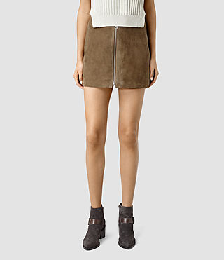 Mujer Lancaster Leather Skirt (Dark Khaki) - product_image_alt_text_2