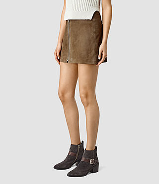 Mujer Lancaster Leather Skirt (Dark Khaki) - product_image_alt_text_3