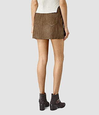 Women's Lancaster Leather Skirt (Dark Khaki) - product_image_alt_text_4