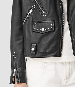 Mujer Vettese Studded Leather Biker Jacket (Black)