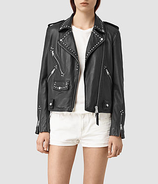 Damen Vettese Studded Leather Biker Jacket (Black) - product_image_alt_text_2