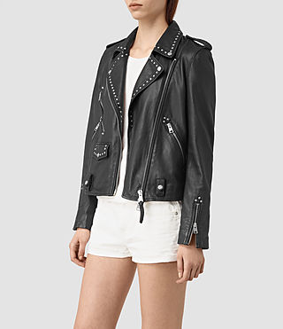 Damen Vettese Studded Leather Biker Jacket (Black) - product_image_alt_text_3