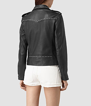 Womens Vettese Studded Leather Biker Jacket (Black) - product_image_alt_text_4